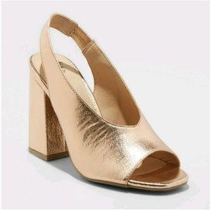 Gold Heeled Peep Toe Shoes